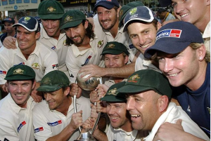 Victorious Australian team after winning in India after 35 years